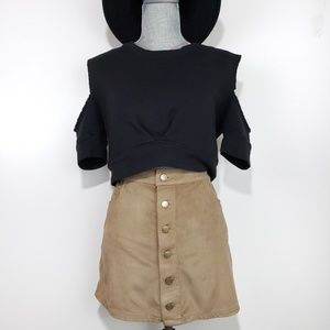 Express Mini waisted Suede Button A Line Skirt